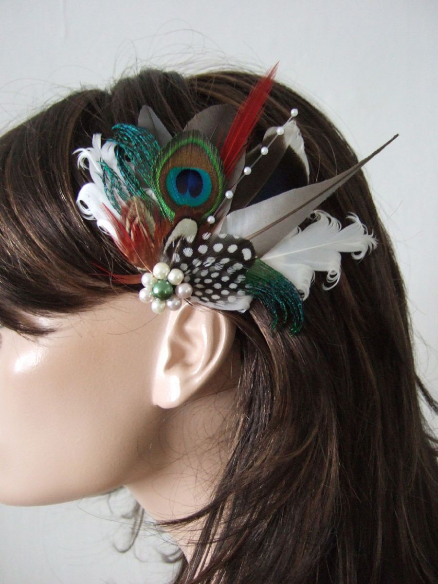 "Natural Fascinator with Pigeon Peacock + Mallard Woodland  Feathers, Bridal Wedding Fascinator Hair Clip ""Livia"" with Something Blue"